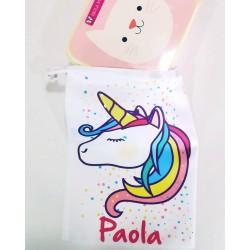 Bolsa Merienda unicornio personalizada